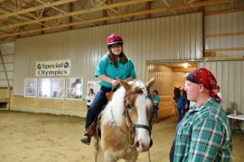 Rider Bridget Kadusky with horse leader Courtlin Reed
