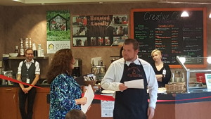 Adam Biggins and Dianne Depasquale Hagerty at the Creative Cafe Ribbon Cutting Ceremony